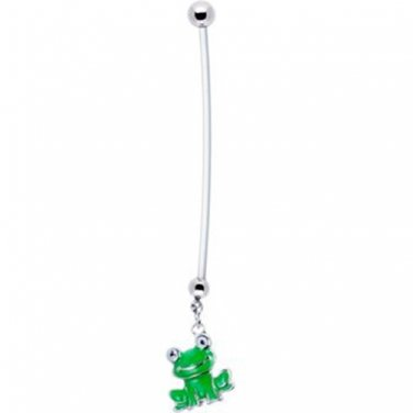 Green Frog Pregnancy Navel Ring.