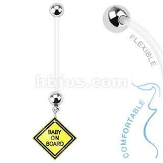 Baby on Board Sign Dangle Bio Flex Pregnancy Navel Ring