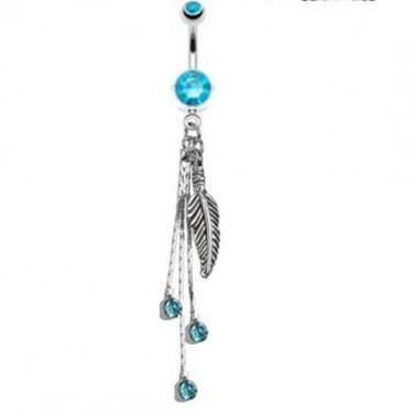Feather and Chains with Aqua CZs Dangle Navel Ring