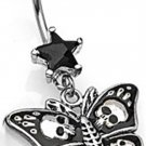 BLACK GOTHIC BUTTERFLY NAVEL RING w/SKULLS
