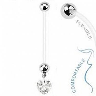 BioFlex Pregnancy Navel Ring with Clear Heart Dangle