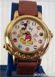 Disney Stunning Gold Small World Lorus Musical Mickey Mouse Watch! New!