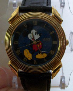 Disney Stunning Gold Blue Dial Lorus Mens Mickey Mouse Watch! New!