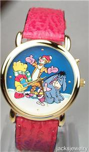 New Disney Rare Winnie Pooh, Eeyore and Tigger Christmas Watch! HTF!