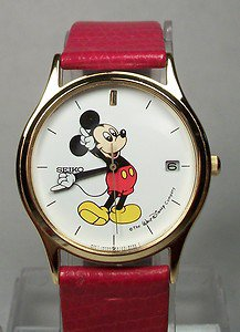 Disney New Extremely Rare Mens Seiko Mickey Mouse Watch!  With Date!