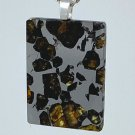 Pallasite and Silver Meteorite Pendant, Stunning Celestial Stained Glass