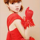 Mesh Net Gloves with Satin Bow red
