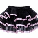 Layered Satin Trim Petticoat black/pink One Size