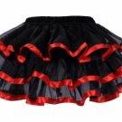 Layered Satin Trim Petticoat black/red One Size