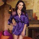 Plus Size Lace Inserts Robe purple 1xl/2xl