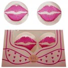 4 Sets One Time Lip Nipple Cover pink One Size