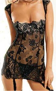 U/W Lace Garter Dress black S