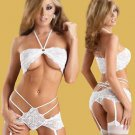 Stretch Lace Bandeaux Top and Garter-Panty white L