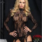 Floral Lace Garter Top And G-String Set black One Size