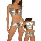 Metallic Wetlook Lame Cami & Booty Panty silver One Size