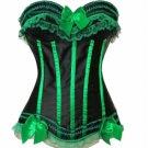 Lace Trim Satin Corset black/green L