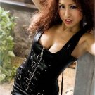 Faux Leather Zipper & Buckles Corset black 1xl/2xl
