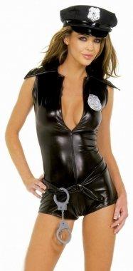 5-pc Line of Duty Wetlook Police Costume M