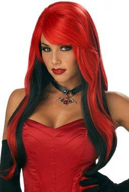 Red Black Volume Long Wig