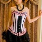Dotted Trim Satin Corset & Skirt pink/black 1xl/2xl