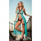 Strappy Mesh Flyaway Gown Set  turquoise One Size