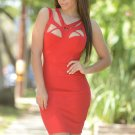 Red Cut Out Bodycon Dress One Size