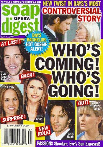 Rick Springfield, Finola Hughes, Tom Pelphrey - July 17, 2007 Soap Opera Digest Magazine