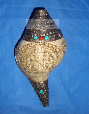 "9"" Handmade Sterling Silver Ganesh Figurine Conch Shell with Turquoise and Coral"