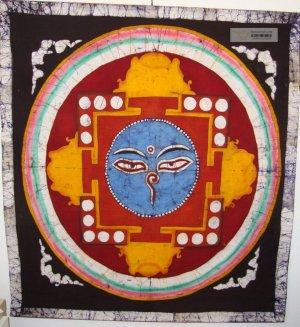 "38/45"" Rare High Quality Handmade Buddha Eyes Mandala Batik Wall hanging"