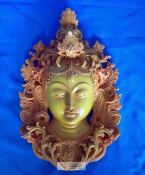 """12 """" Handmade Fishbone Powerful Tibetan Goddess White Tara Mask Wall Hanging"""