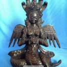 "Hand made Rare Fishbone 8 "" Serpent Guardian Tantric Goddess Statue- Nag Kanya"