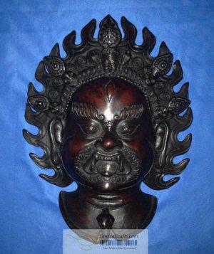 """12""""Handmade Fishbone Tantric Mask Wall Hanging Bhairav, manifestation of Shiva"""