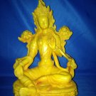 "8 "" Handmade Fishbone Powerful Tibetan Goddess Statue Green Tara on Lotus"