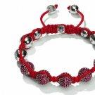 10MM European New Red Crystal Hip Hop Disco Balls Macrame Bracelet Charm Beads-CP079