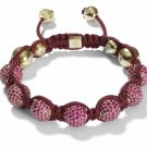 10MM European New Red Crystal Hip Hop Disco Balls Macrame Bracelet Charm Beads-CP028