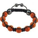 Hot Sell 10MM Disco Magnetite Ball Beads Macrame 9  Crystal  Bracelet 83