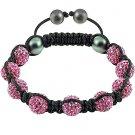 Hot Sell 10MM Disco Magnetite Ball Beads Macrame 9  Crystal  Bracelet 85