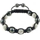Hot Sell 10MM Disco Magnetite Ball Beads Macrame 5 Crystal  Bracelet 89