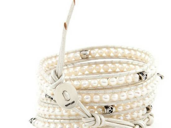 Hot  Sell  pearl beads 5 wrap white bracelet 925 Silver clasp CL-061