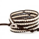 Hot  Sell  pearl silver heart beads 5 wrap bracelet 925s clasp  CL-099