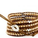 Hot  Sell  pearl silver heart beads 5 wrap bracelet 925s clasp CL-097