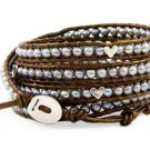 Hot  Sell  pearl silver heart beads 5 wrap bracelet 925s clasp CL-232