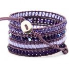 Hot  Sell  Crystal beads with jade Handmade on Purple leather 5 wrap bracelet CL-110