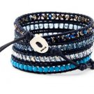 Hot  Sell  crystal beads Handmade on Blue leather 5 wrap bracelet CL-107