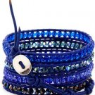 Hot  Sell  crystal beads Handmade on Blue leather 5 wrap bracelet CL-106