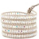 Hot  Sell  crystal beads Handmade on white leather 5 wrap bracelet CL-64