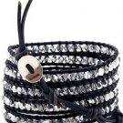 Hot  Sell crystal beads Handmade on Black leather 5 wrap bracelet CL-68