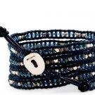 crystal beads Handmade on Black leather 5 wrap bracelet CL-102