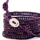 crystal beads Handmade on Purple leather 5 wrap bracelet CL-103