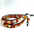 New Agate Beads Leather Wrap Cuff Bracelet-CL035